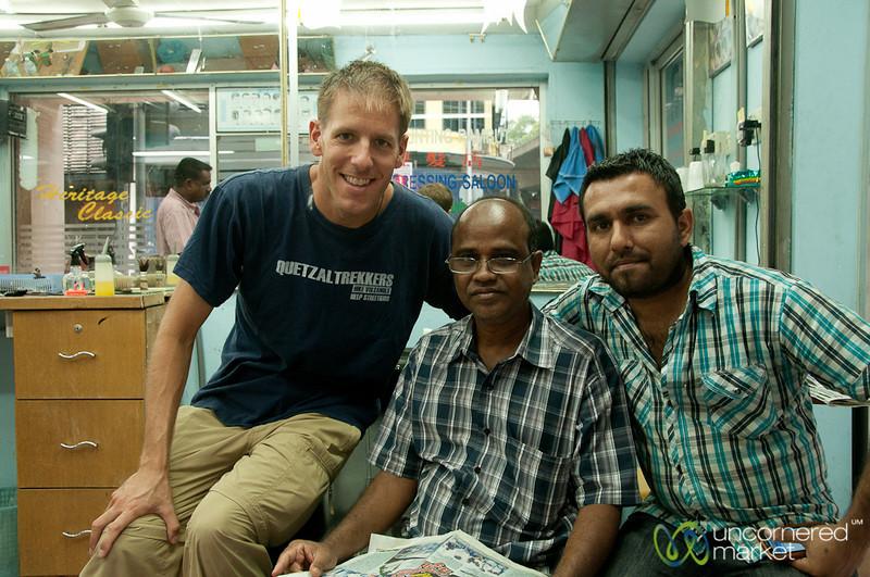 Dan with His Barber - Kuala Lumpur, Malaysia