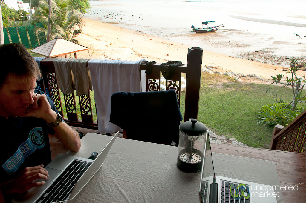 Dueling MacBooks and Low Tide - Koh Samui, Thailand
