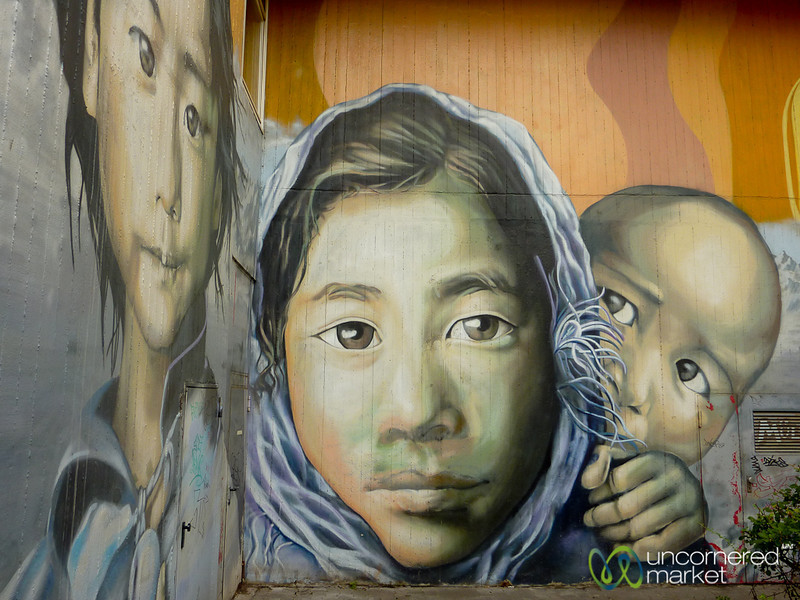 Family of Kids Faces - Street Art in Berlin, Germany