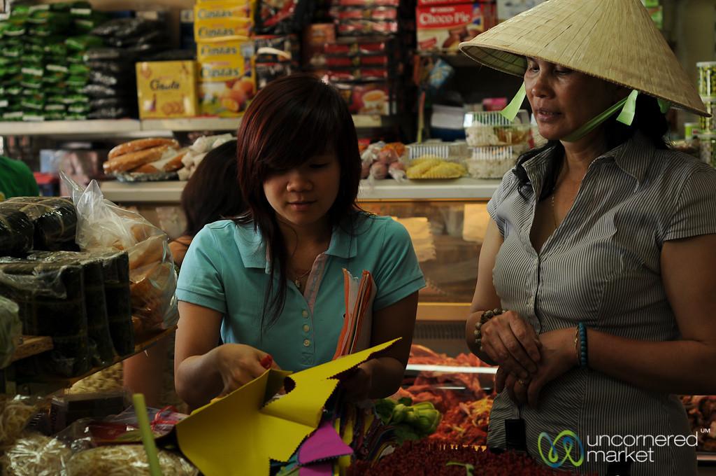 Paper Cut-Outs at the Vietnamese Market in Prague, Czech Republic