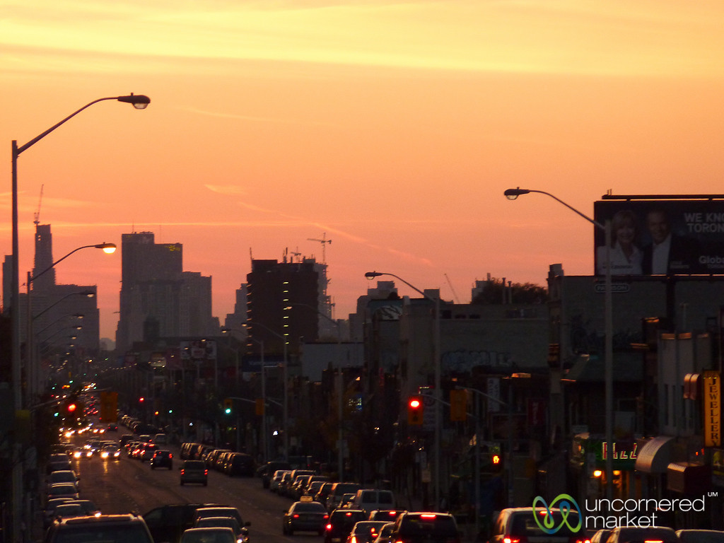 Sunset and  Rush Hour Traffic in Toronto, Canada