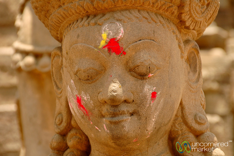 Marked Holy Statue - Bhaktapur, Nepal