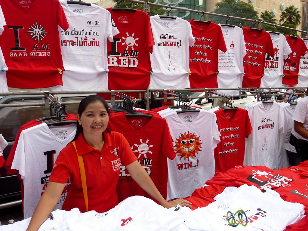 Selling Red Shirts T-Shirts - Bangkok, Thailand