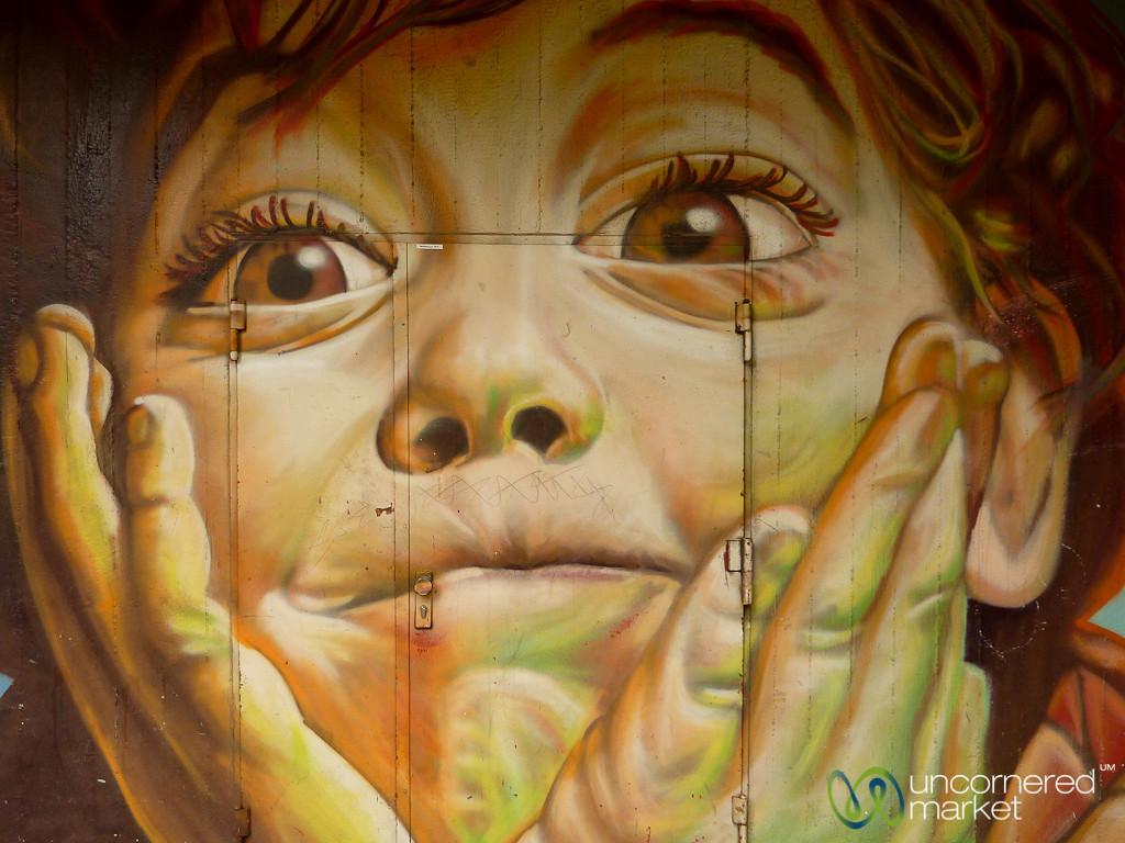 Big Brown Eyes on Boy - Street Art in Berlin, Germany