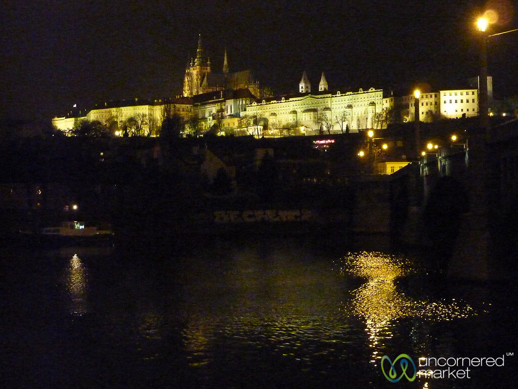 Prague Castle Lit Up at Night - Czech Republic