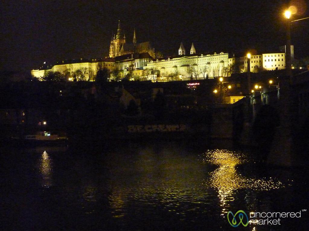 Prague Castle Lit Up at Night - Czech Republic