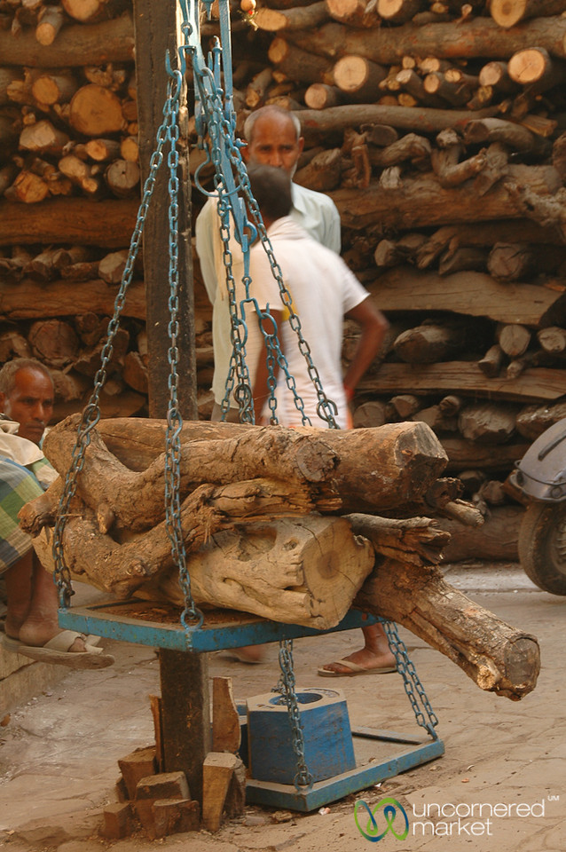 Weighing the Wood - Varanasi, India