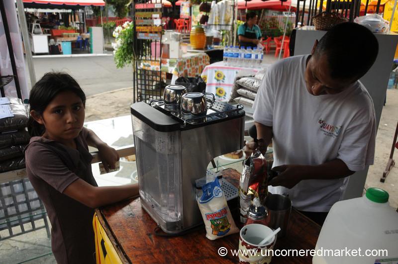 Man Making Coffee - Juayua, El Salvador