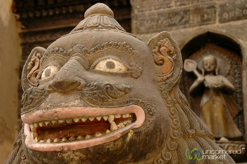 Pink Lips on a Scary Statue - Patan, Nepal
