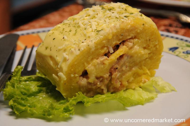 Camping Causa (Peruvian Mashed Potato Dish) - Day 4 of Salkantay Trek, Peru