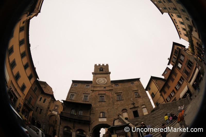 Fisheye View of Piazza della Repubblica - Cortona, Italy