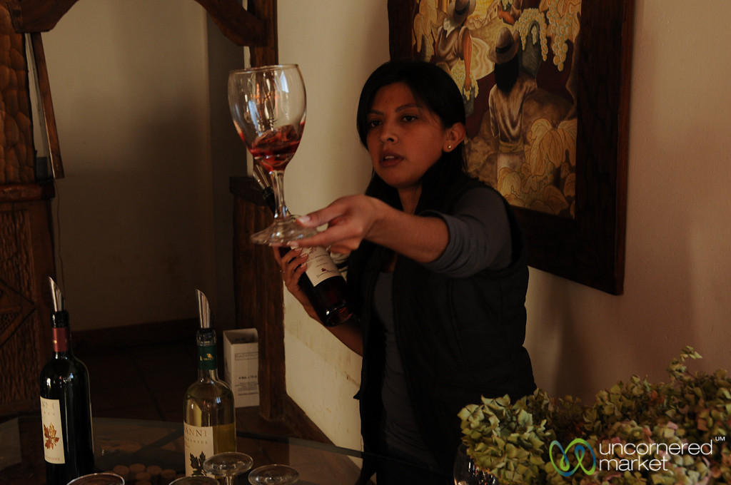 Checking the Color of the Wine - Cafayate, Argentina
