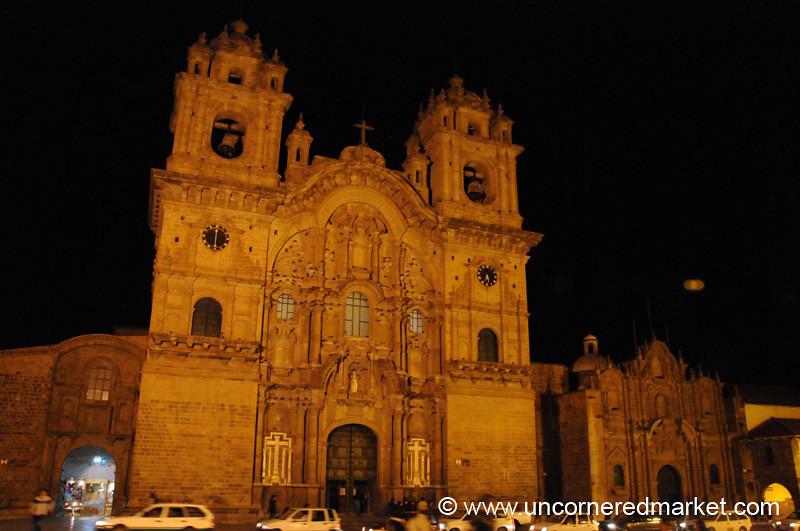 Iglesia de La Compania de Jesus at Night - Cusco, Peru