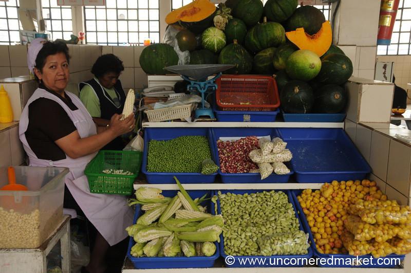 Peeling Corn at Mercado Central - Quito, Ecuador