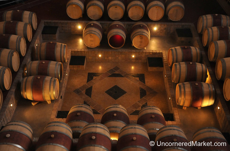 Looking Down at Red Wine Aging in Oak Barrels - Bodega Familia Schroeder outside Neuquen, Argentina
