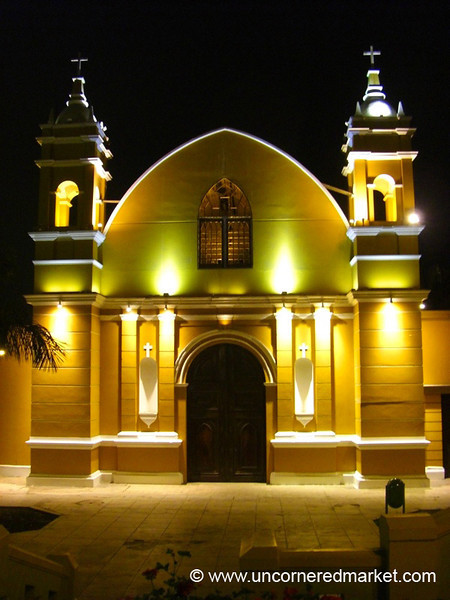 Barranco's Church at Night - Lima, Peru