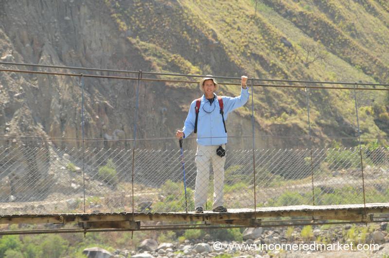 Dan at the Bridge - Day 4 of Salkantay Trek, Peru