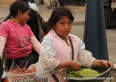 Selling Shelled Peas - Otavalo Market, Ecuador