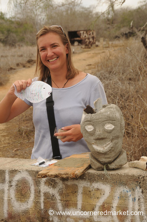 Proud of her Postcard - Galapagos Islands