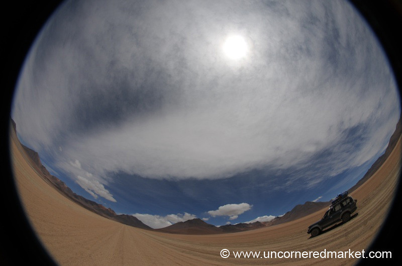 Where the Road Bends Fisheye - Salar Tour, Bolivia