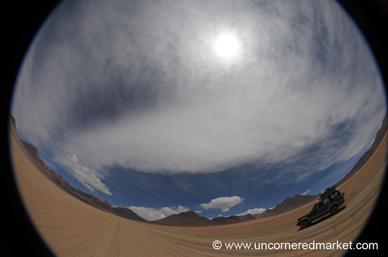 Where the Road Bends Fisheye - Salar Tour, Bolivia