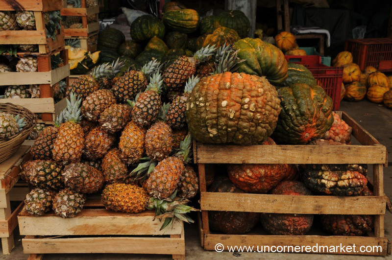 Pineapples and Squash at Abasto Market - Asuncion, Paraguay