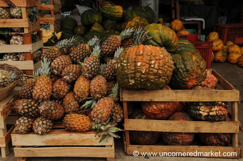 Pineapples and Squash at Abasto Market - Asuncion, Paraguay