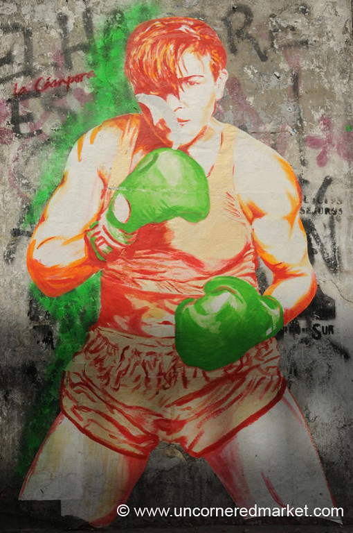 Colorful Boxer - Graffiti on the Streets of Buenos Aires, Argentina