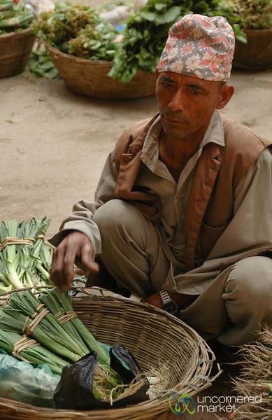 Selling Greens on the Street - Kathmandu, Nepal