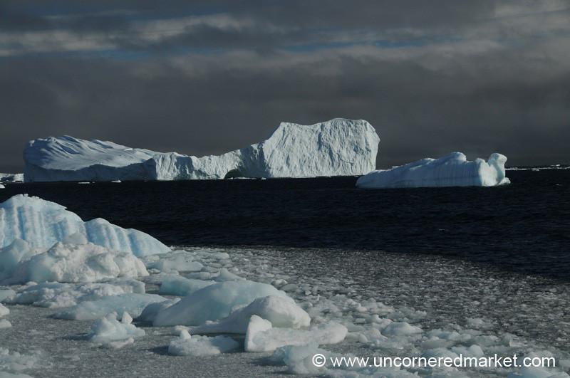Sun Shining on Icebergs - Antarctica