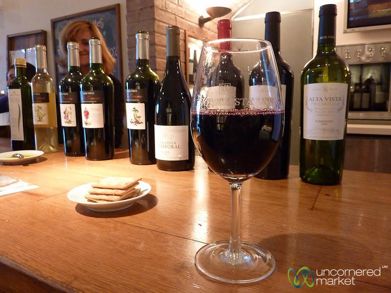 Buying Glasses at Alta Vista Winery - Mendoza, Argentina