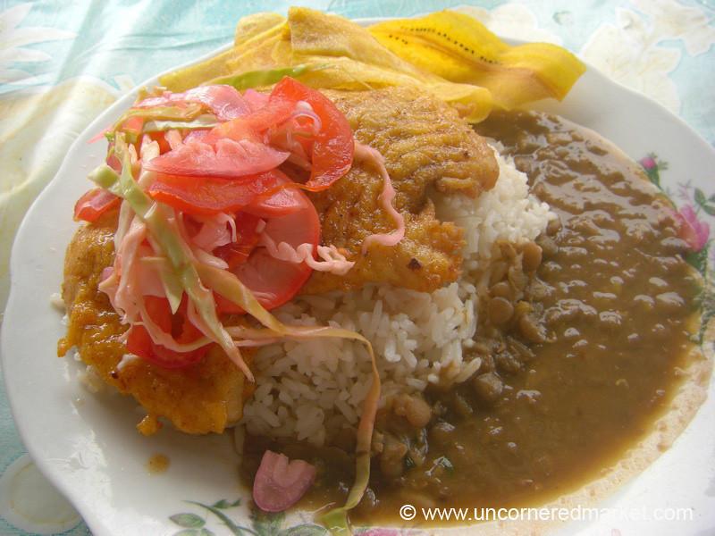 Fish, Rice and Lentil Minestra  - Puerto Lopez, Ecuador