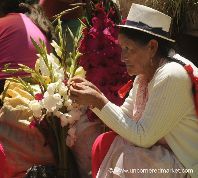 Selling Flowers at Market - Chordeleg, Ecuador