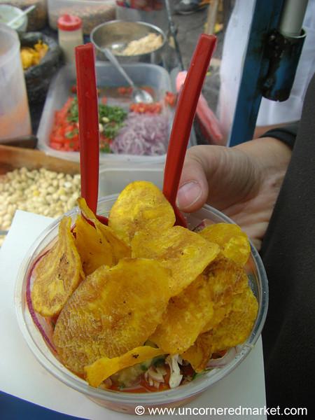 Cevichochos (Vegetarian Ceviche) on the Street of Otavalo, Ecuador