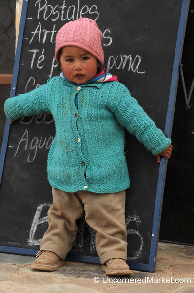 A Young Girl Guarding the Sign - La Polvorilla Viaduct, Argentina