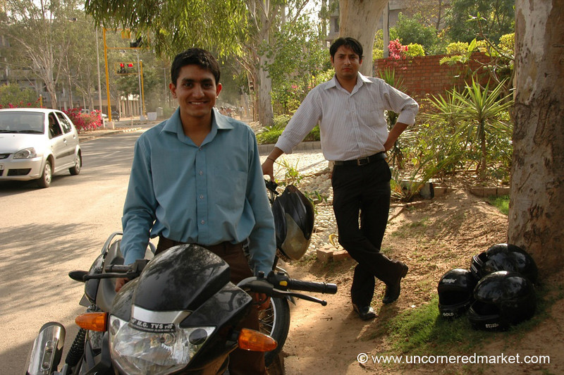 Sharan and Rajiv with the Motorcycles - Chandigarh, India