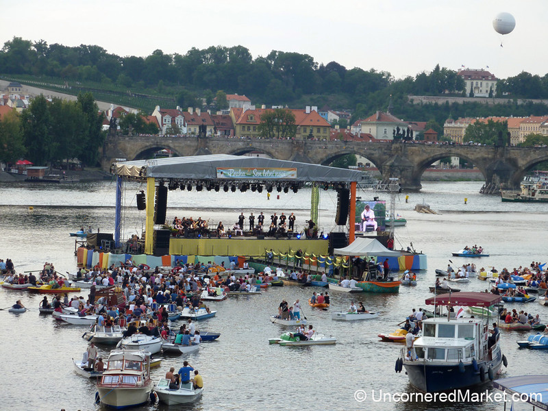 Goran Bregovic Literally Plays on the Vltava River in Prague, Czech Republic
