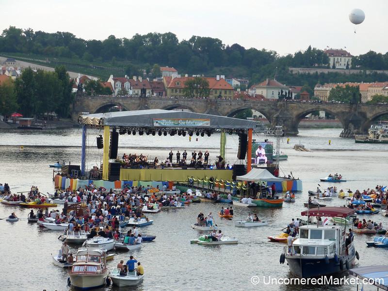 Goran Bregovic Literally Plays on the Vltava River in Prague, Czech Republic