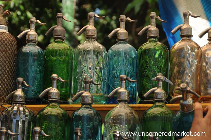Antique Seltzer Bottles at the San Telmo Sunday Market in Buenos Aires, Argentina