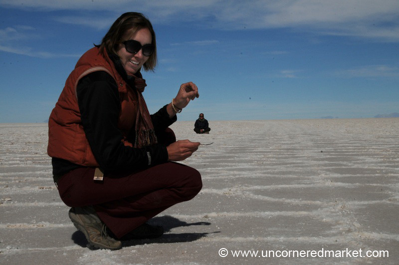 Audrey with a Sprinkle - Salar de Uyuni, Bolivia