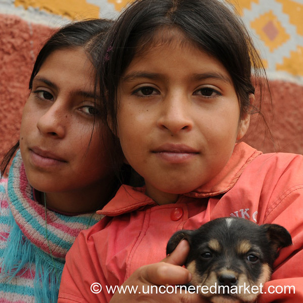 Sisters with their Puppy - Near Kuelap, Peru