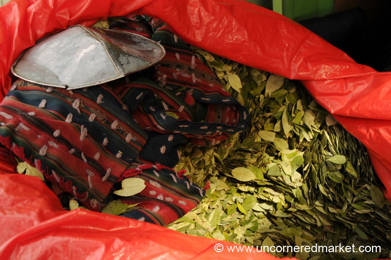 Buying Coca Leaves at the Market - Potosi, Bolivia