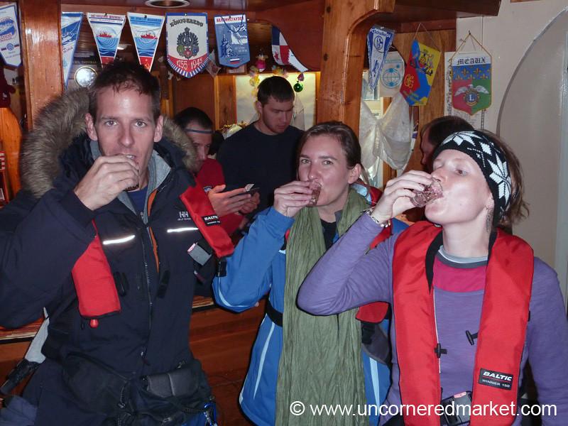 Vodka Shots at Southernmost Bar in World - Antarctica