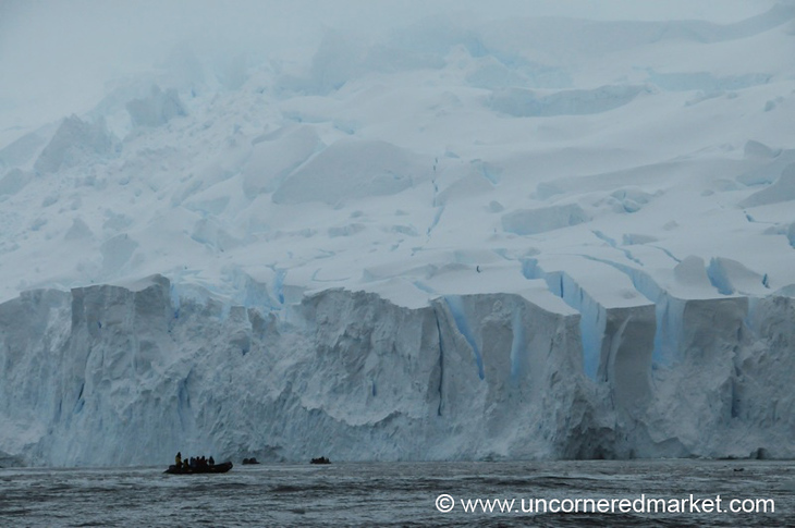 Zodiac Against the Ice - Antarctica