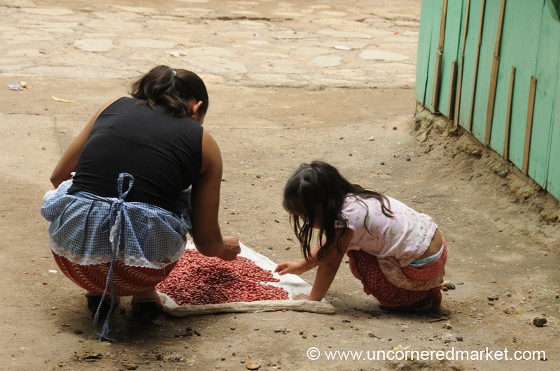 Honduran Mother and Daughter Sorting Beans - La Esperanza, Honduras