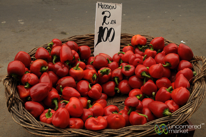 Red Peppers at Mercado Cardonal in Valparaiso, Chile