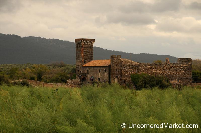View of Badia Castle at Vulci Ruins - Italy