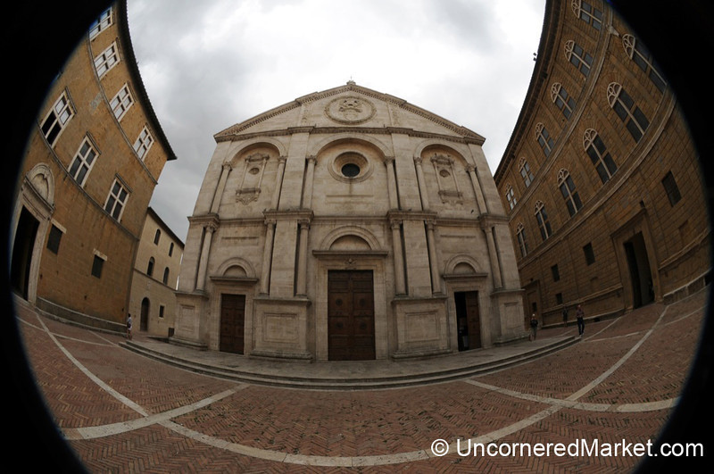 Fisheye View of Cathedral in Pienza, Tuscany