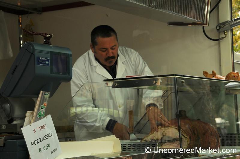 Cutting a Thin Slice of Porchetta - Torrita di Siena, Italy