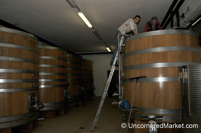 Getting the Tanks Clean - Capanna Winery, Montalcino